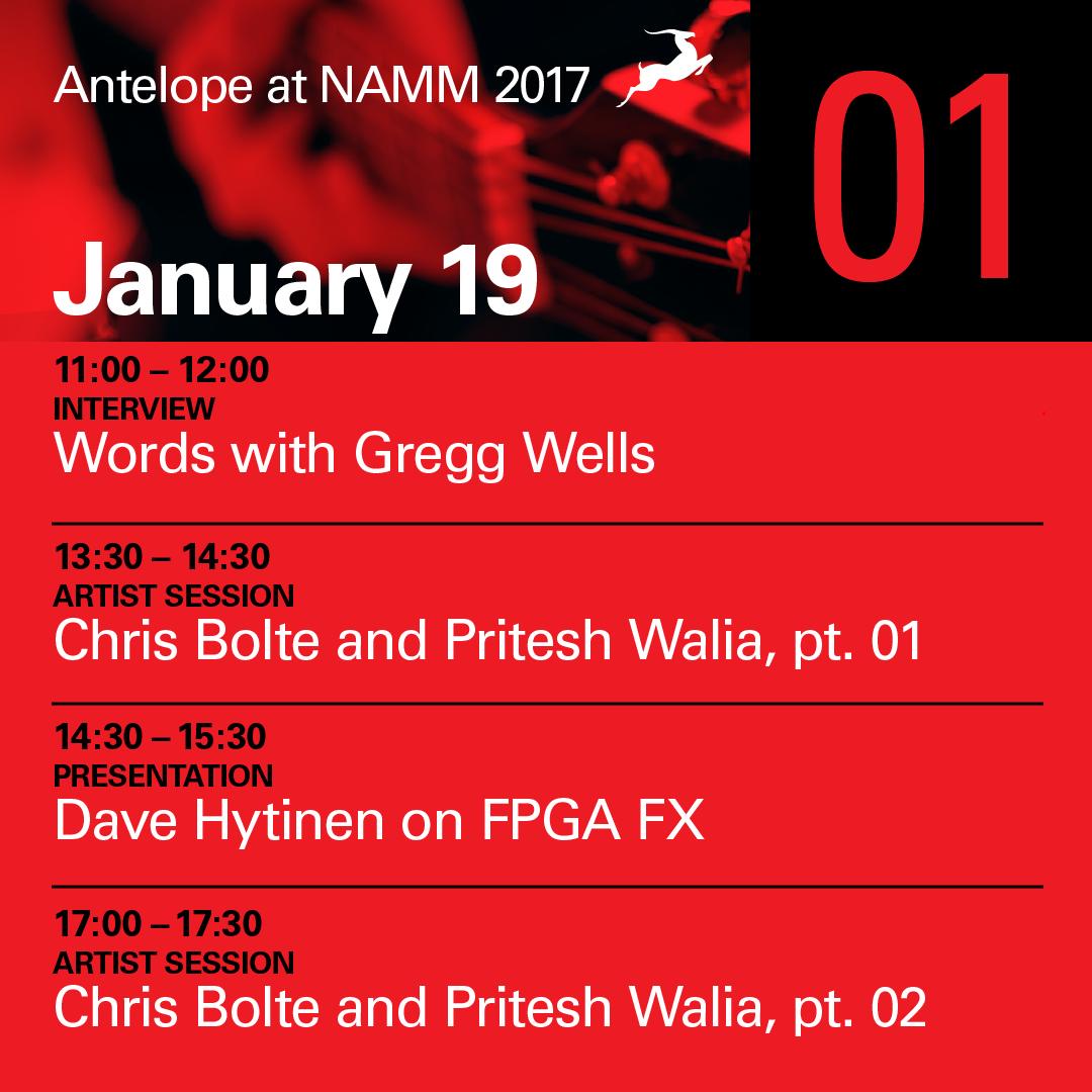 NAMM 2017 - Day 1 agenda