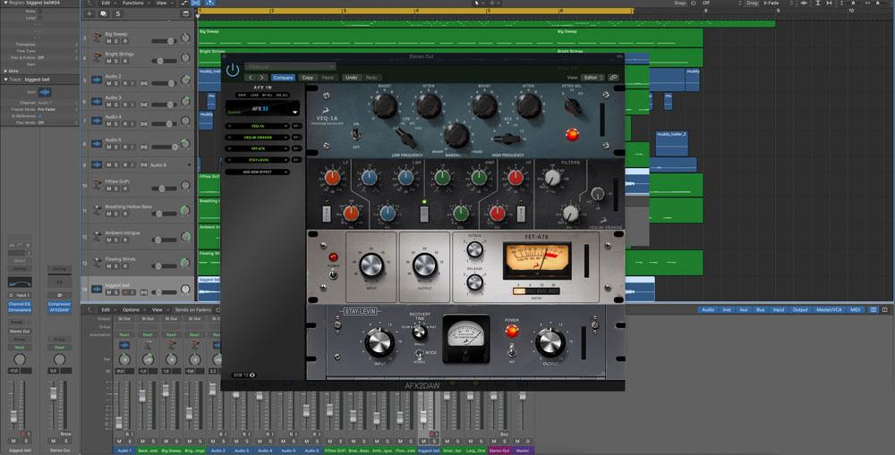 The AFX2DAW plugin is loaded inside Logic Pro DAW